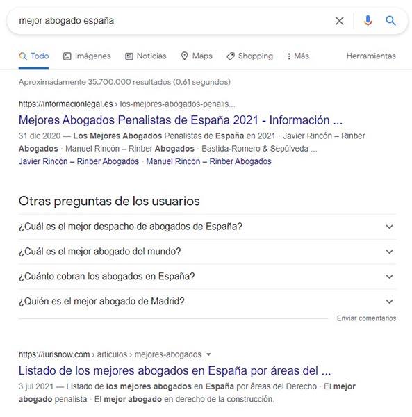 "Resultados SEO al buscar ""mejor abogado españa"""