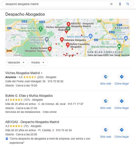 """Resultados de SEO local al buscar """"despacho abogados Madrid"""""""