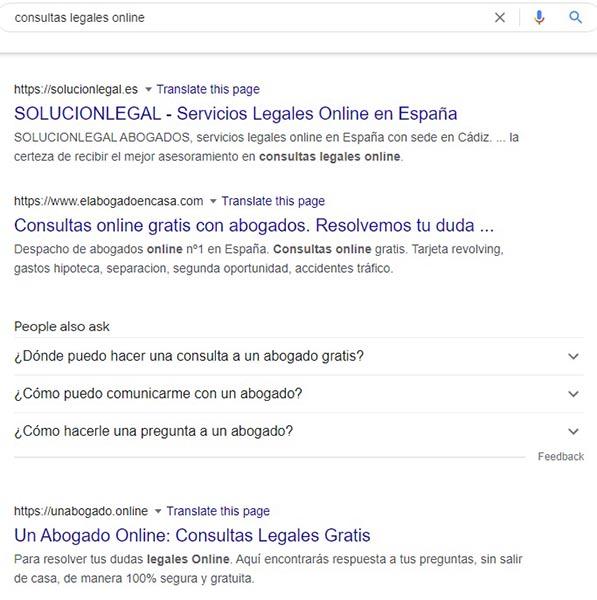 """resultados SEO al buscar """"consultas legales online"""""""